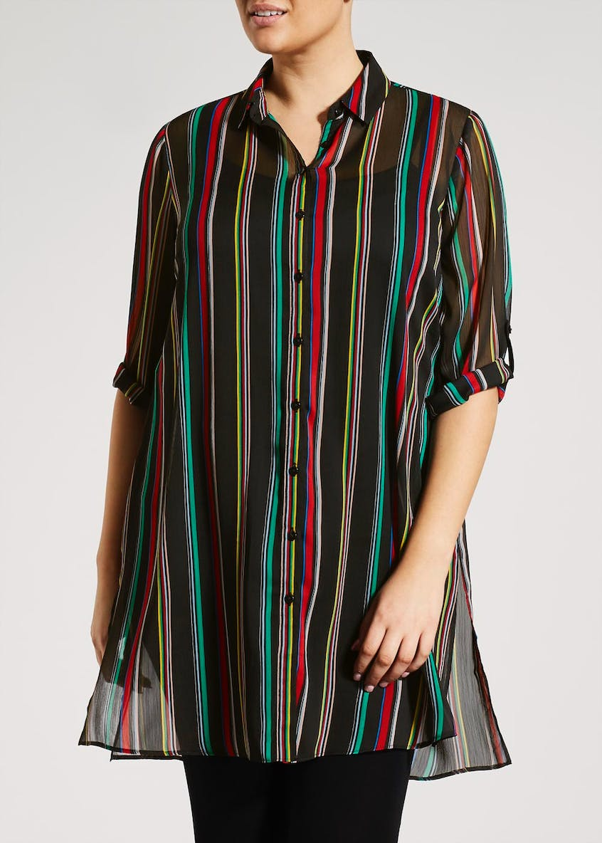 Papaya Curve Stripe Longline Shirt