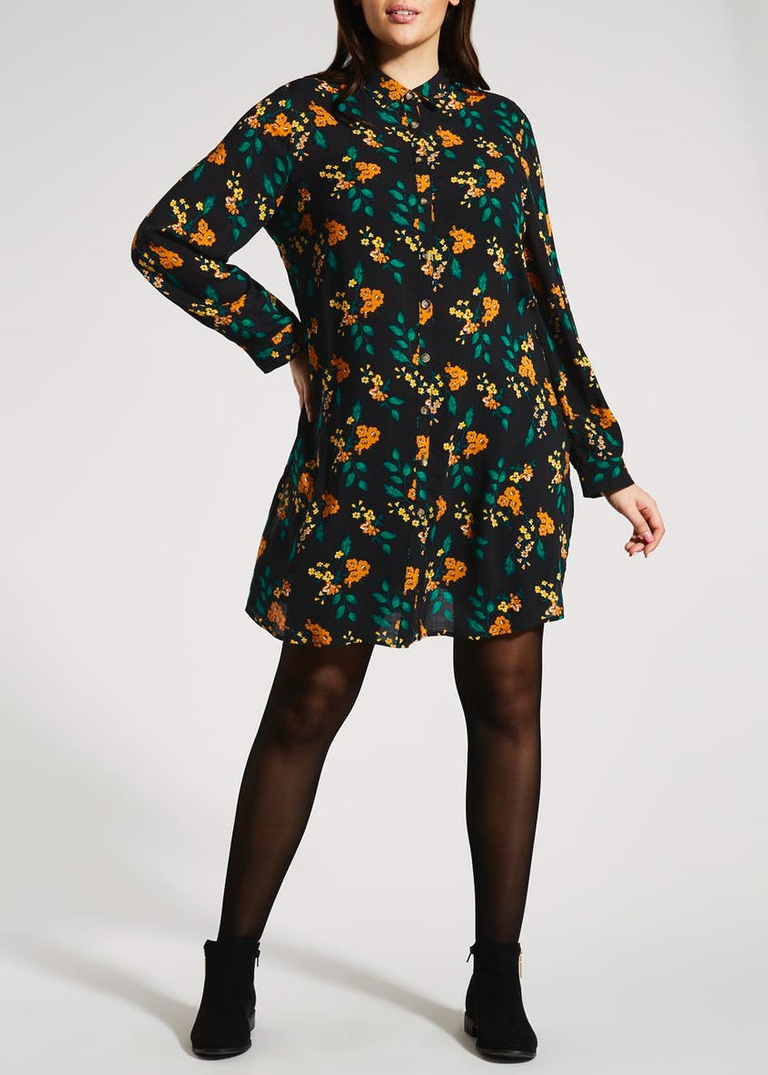 Papaya Curve Floral Shirt Dress