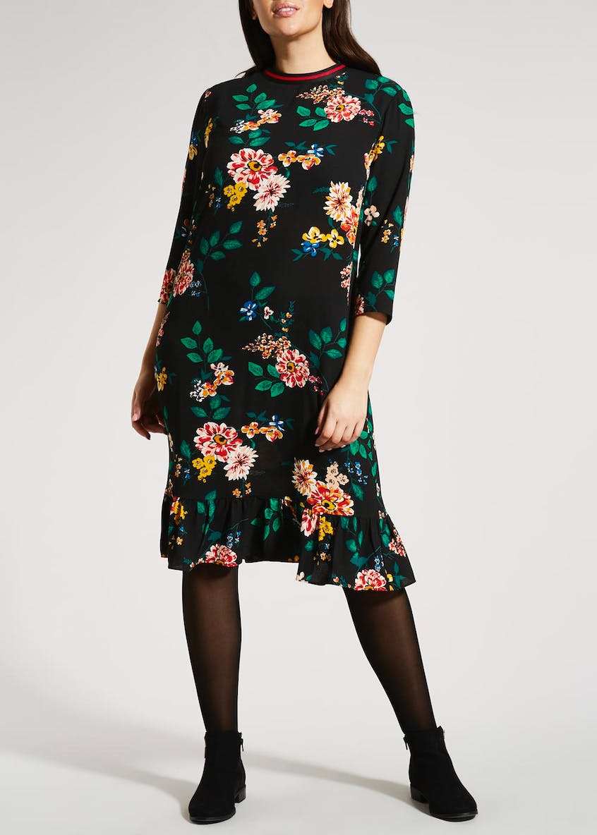 Papaya Curve Floral Sports Trim Midi Dress