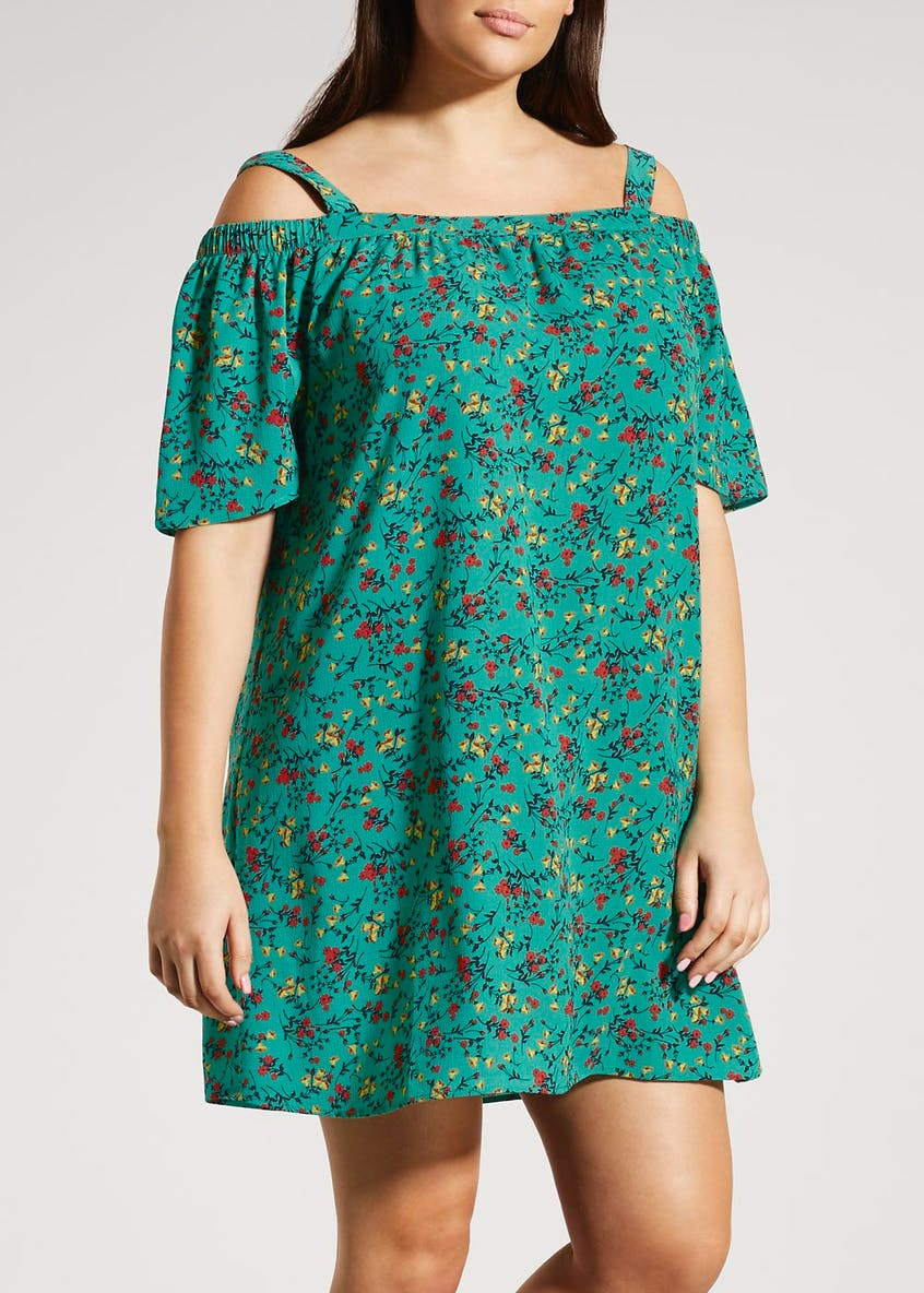 Papaya Curve Floral Cold Shoulder Dress