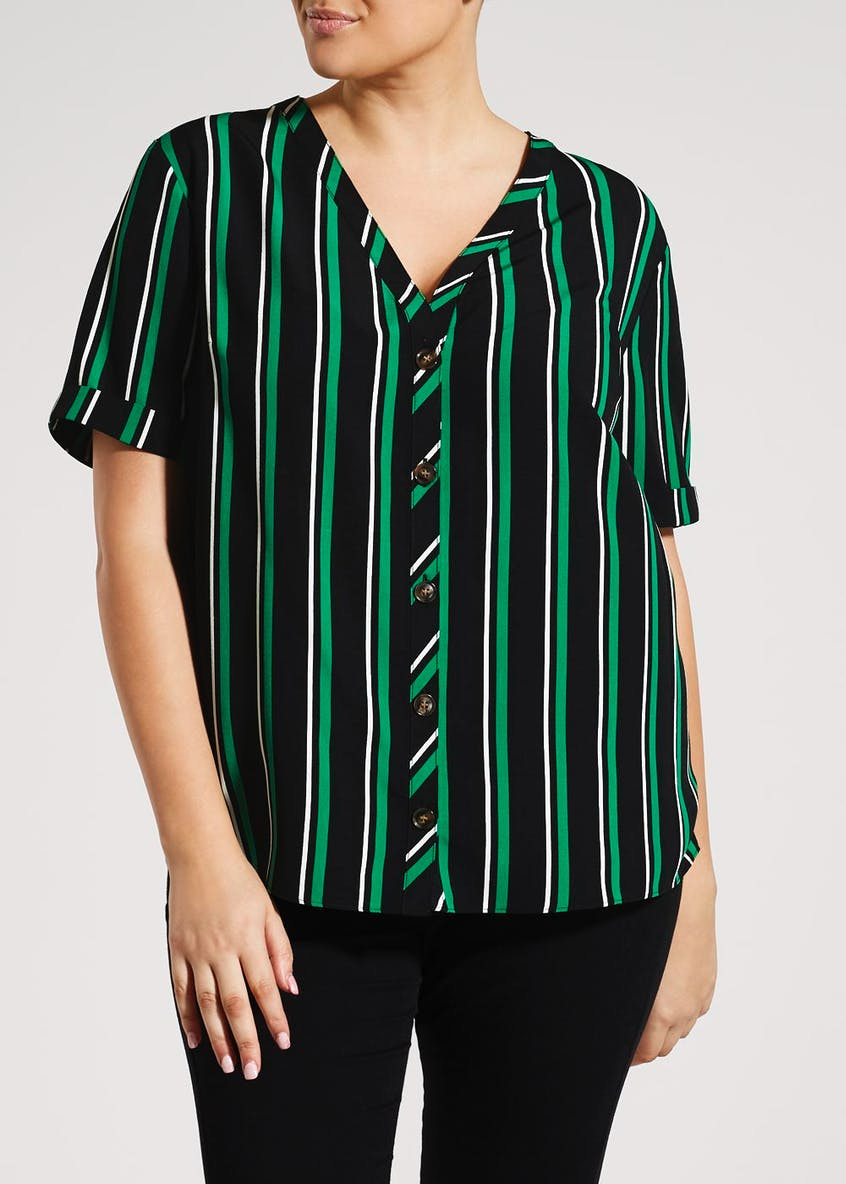 Papaya Curve Stripe Button Front Shirt