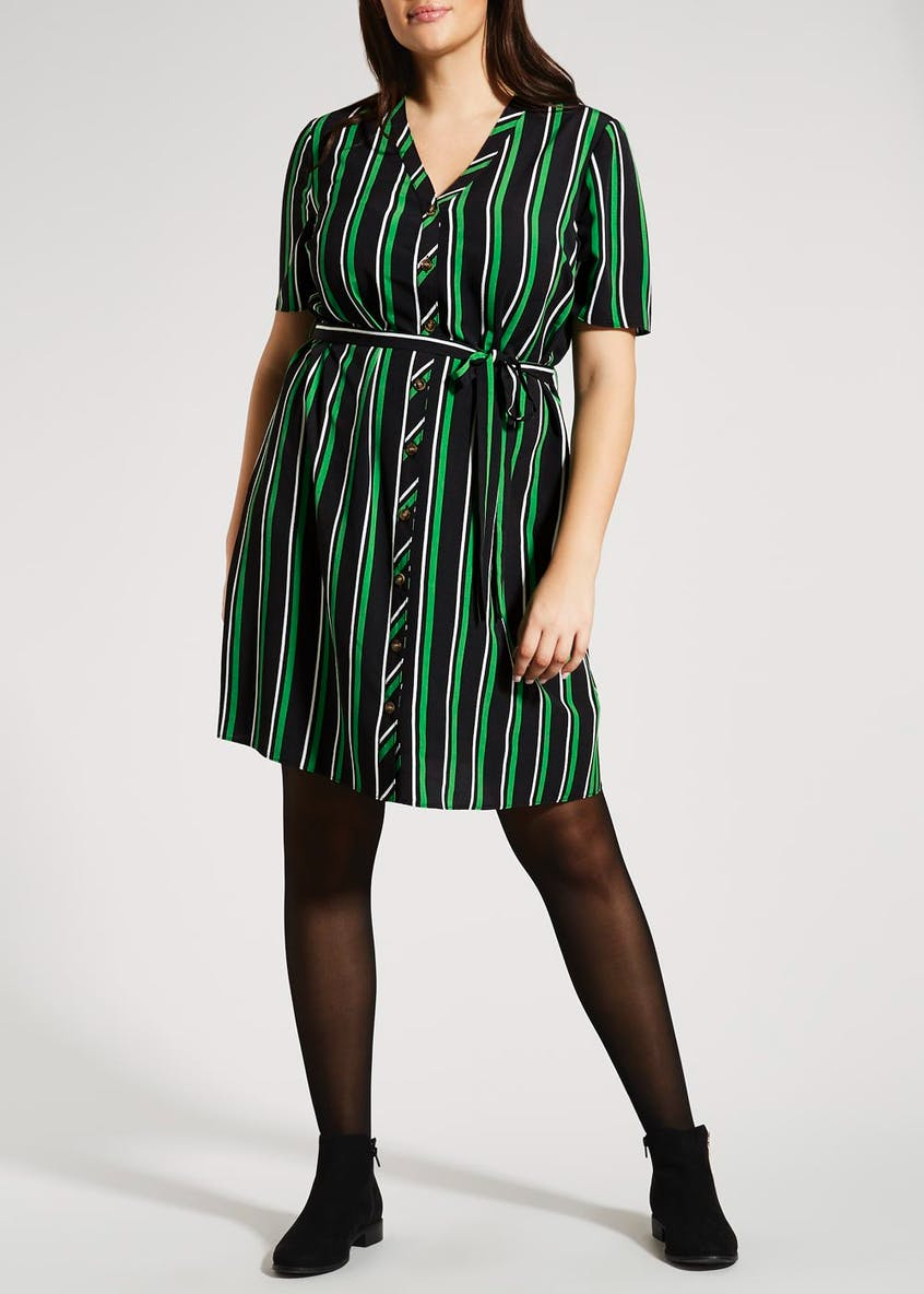 Papaya Curve Stripe Button Front Shirt Dress