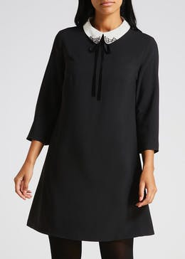 Embroidered Collar Dress