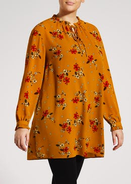 Papaya Curve Floral Tie Neck Tunic