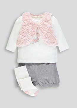Girls Shrug T-Shirt Shorts & Tights Set (Newborn-18mths)