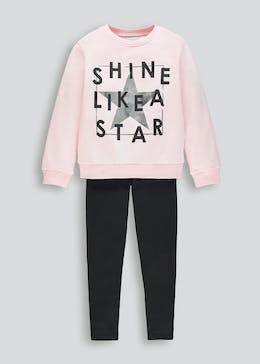 Girls Star Slogan Sweatshirt & Leggings Set (4-13yrs)