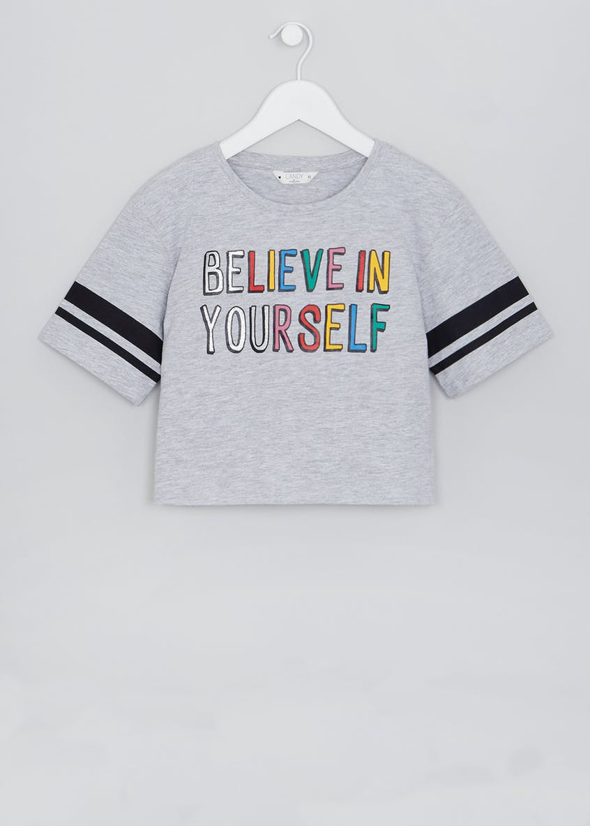 Girls Candy Couture Believe in Yourself Slogan Stripe T-Shirt (9-16yrs)