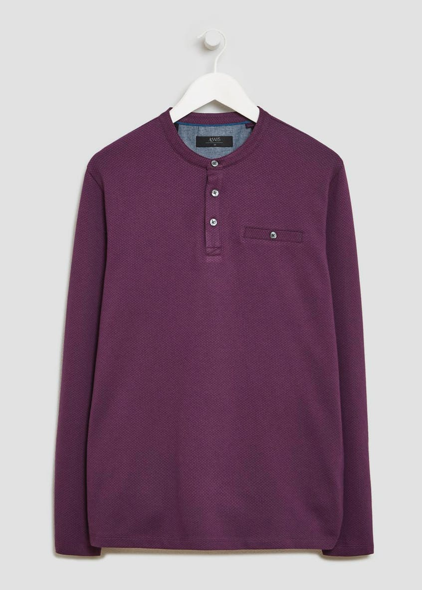 Long Sleeve Grandad Collar Jacquard Polo Shirt