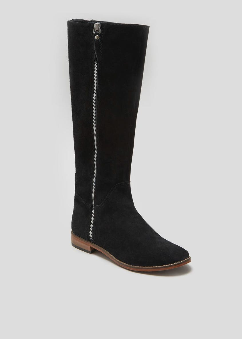 Real Suede Zip Tall Boots