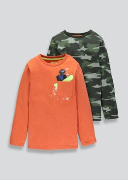 Boys 2 Pack Long Sleeve T-Shirts (4-13yrs)