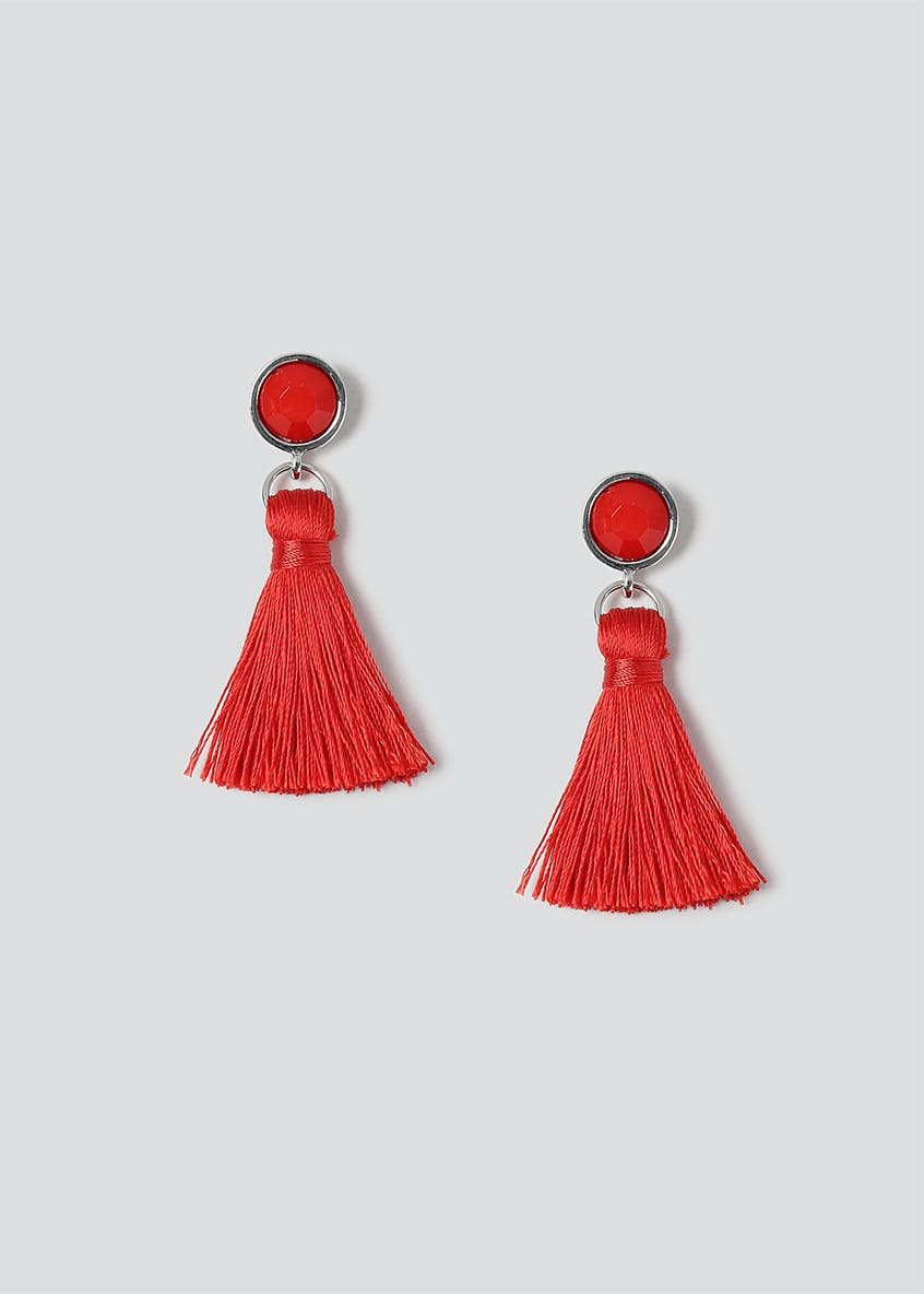 Facet Bead & Tassel Drop Earrings
