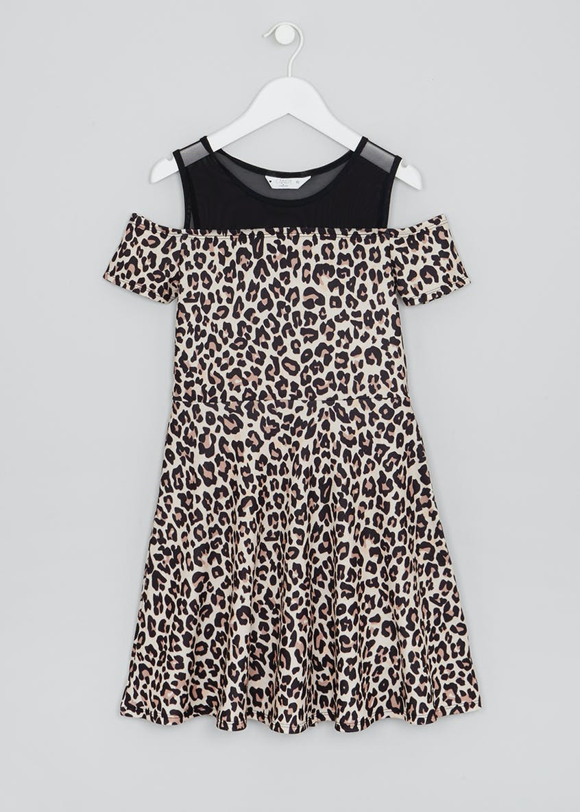 Girls Candy Couture Leopard A-Line Dress (9-16yrs)