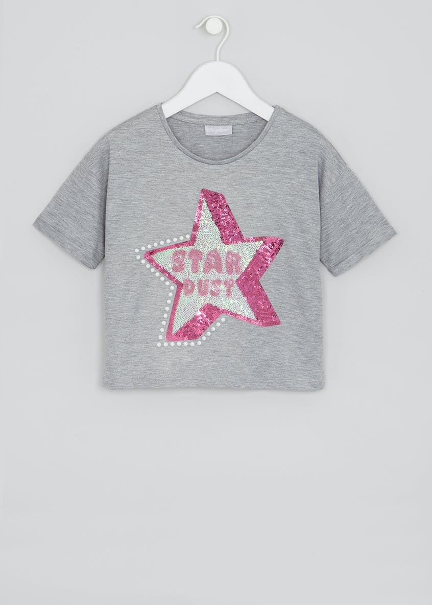 Girls Sequin & Pearl Star Dust Cropped T-Shirt (4-13yrs)