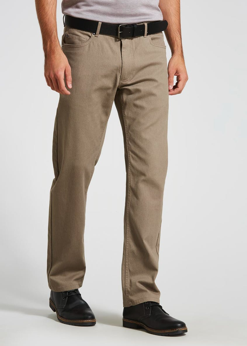 Straight Fit Bedford Cord Belted Trousers