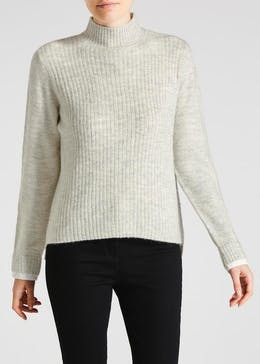 2 in 1 Ribbed Turtle Neck Jumper