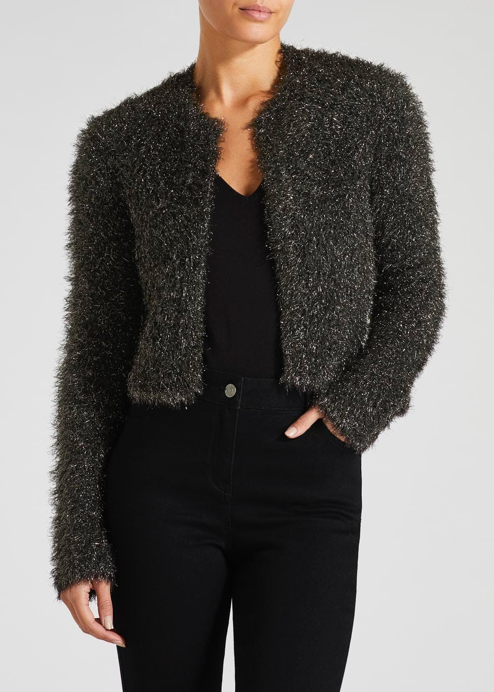 6065dfea2231 Lurex Sparkle Cropped Cardigan – Black – Matalan