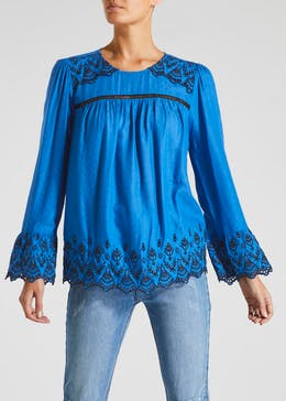 Falmer Embroidered Frill Sleeve Blouse