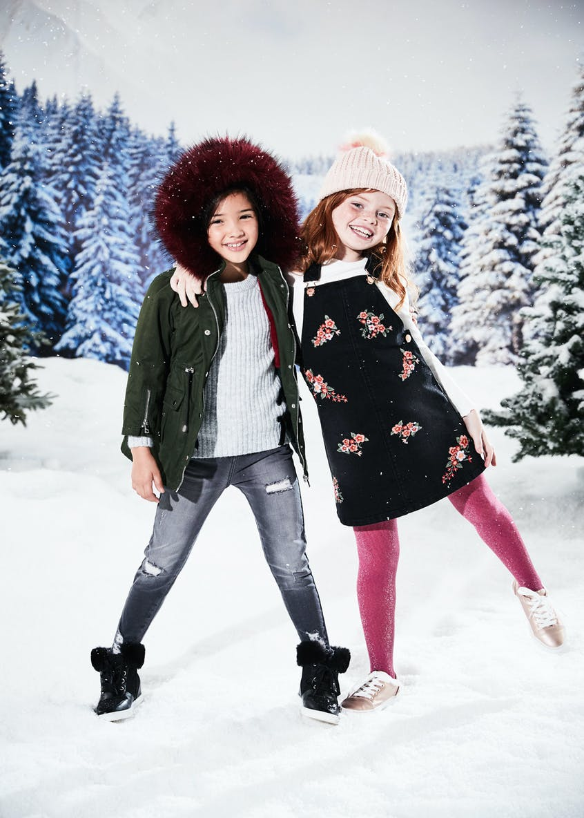 Mini Me Girls Contrast Faux Fur Hooded Parka(4-13yrs)