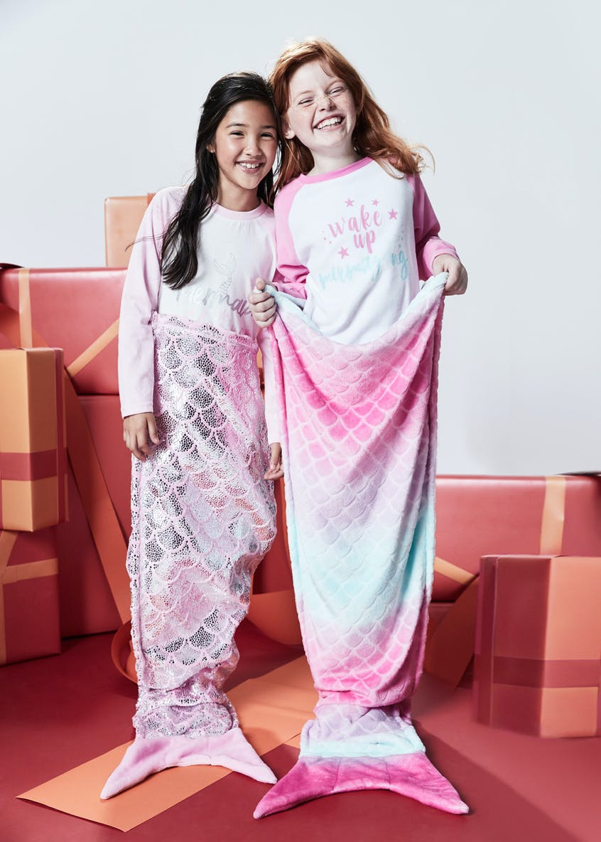 Girls 3 Piece Mermaid Pyjamas & Blanket Set (4-13yrs)
