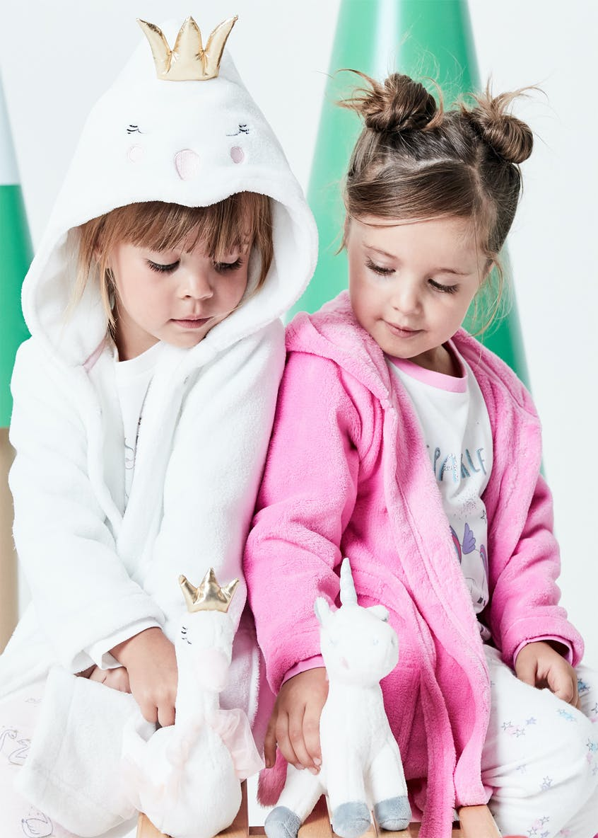 Kids 4 Piece Unicorn Pyjamas, Dressing Gown & Toy Set (12mths-5yrs)