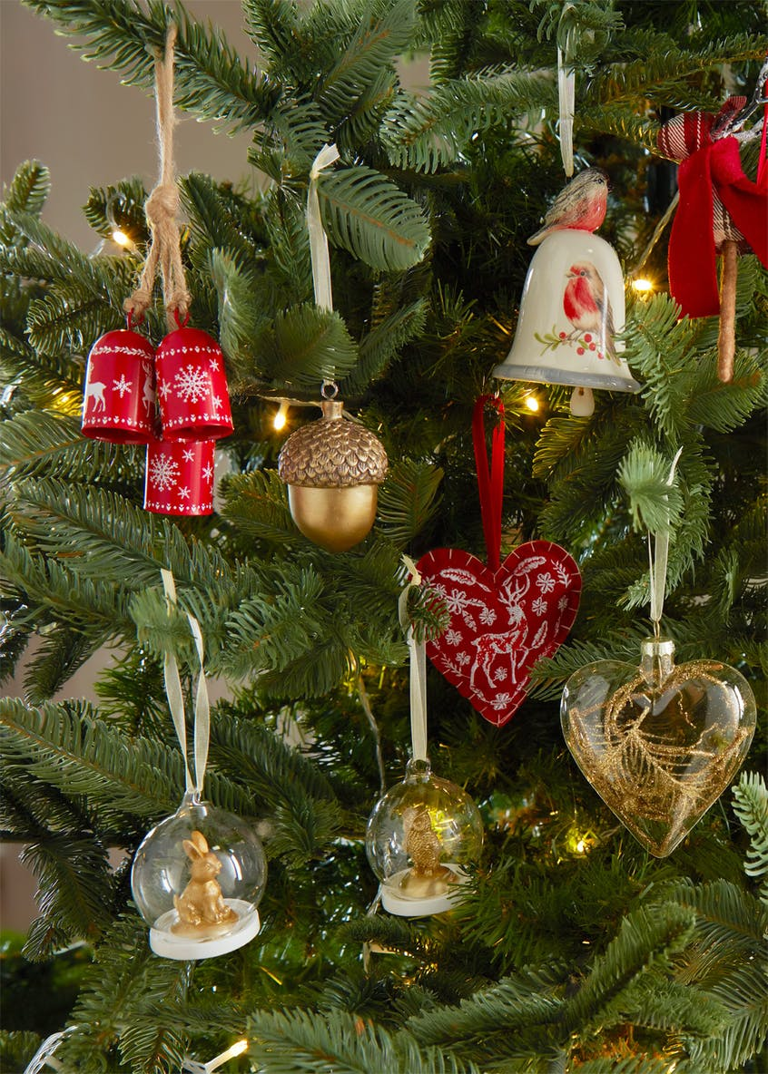 Reindeer Embroidered Heart Christmas Tree Decoration (10cm)