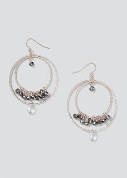 Double Circle Facet Bead Hoops