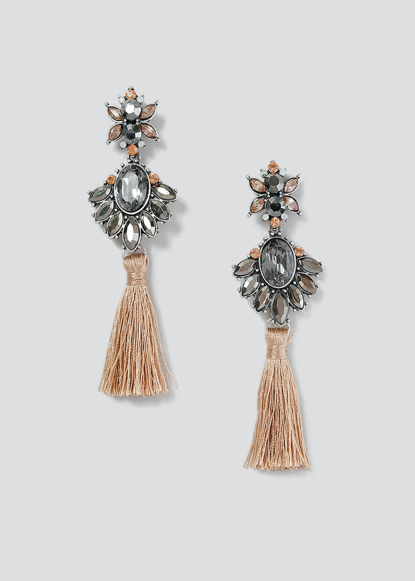 Statement Mixed Stone Tassel Earring
