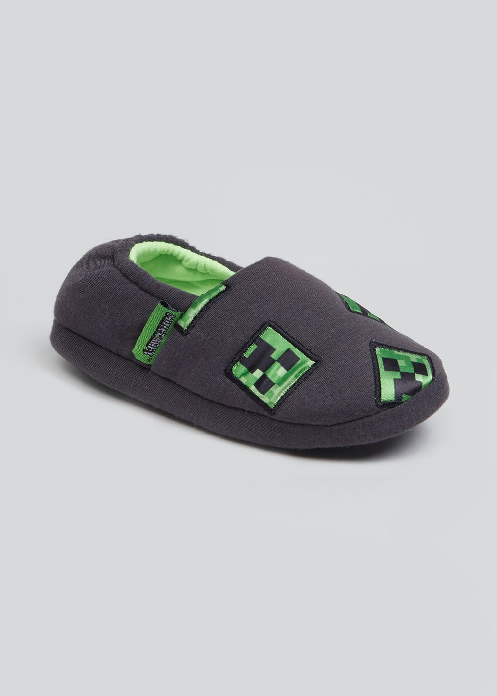 Kids Minecraft Slippers Younger 7 13 Grey Matalan