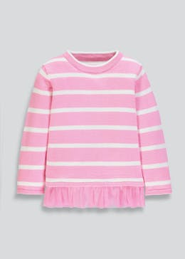 Girls Stripe Mesh Frill Jumper (9mths-6yrs)