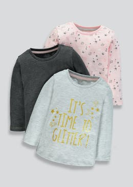 Girls 3 Pack Long Sleeve T-Shirts (9mths-6yrs)