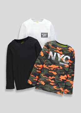 Boys 3 Pack Long Sleeve T Shirts 4 13yrs