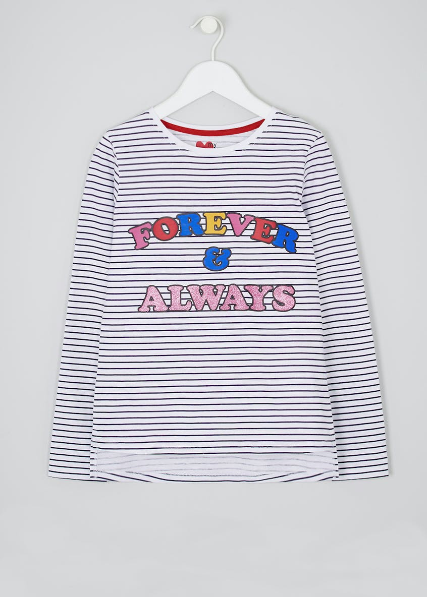 Girls Forever & Always Slogan Stripe T-Shirt (4-13yrs)