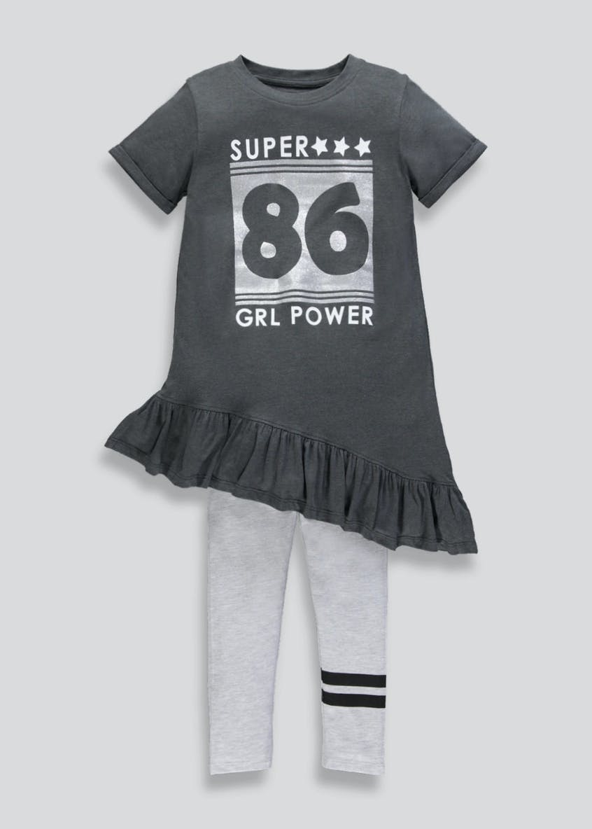 Girls Slogan T-Shirt Dress & Leggings Set (4-13yrs)