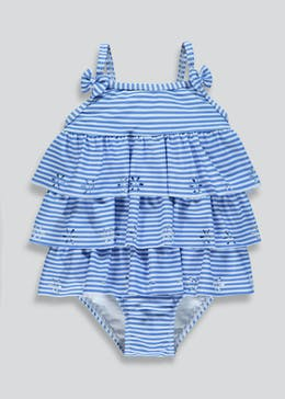 Girls Stripe Ruffle Swimming Costume (3mths-6yrs)