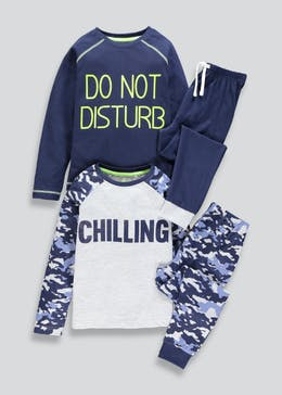 Kids 2 Pack Chilling Slogan Pyjamas (4-13yrs)