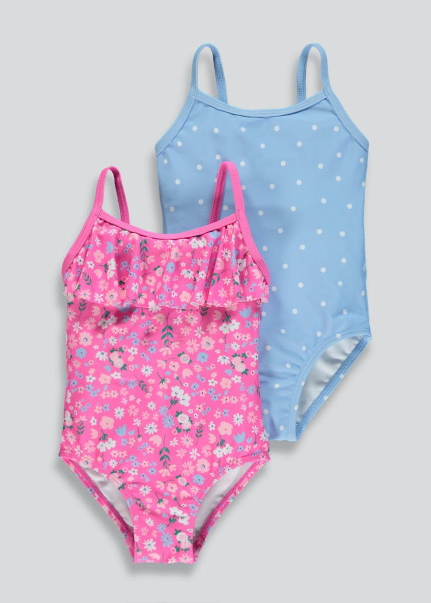 Girls 2 Pack Floral Spot Swimming Costumes (3mths-6yrs)
