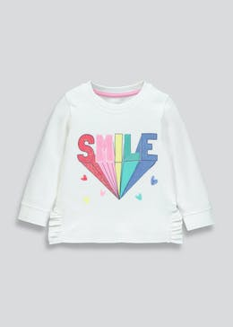 Girls Smile Slogan Sweatshirt 9mths 6yrs