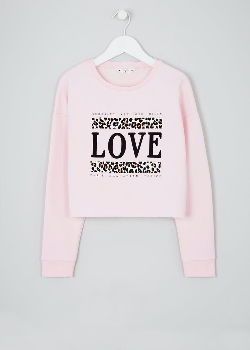 Girls Candy Couture Love Slogan Cropped Sweatshirt (9-16yrs)