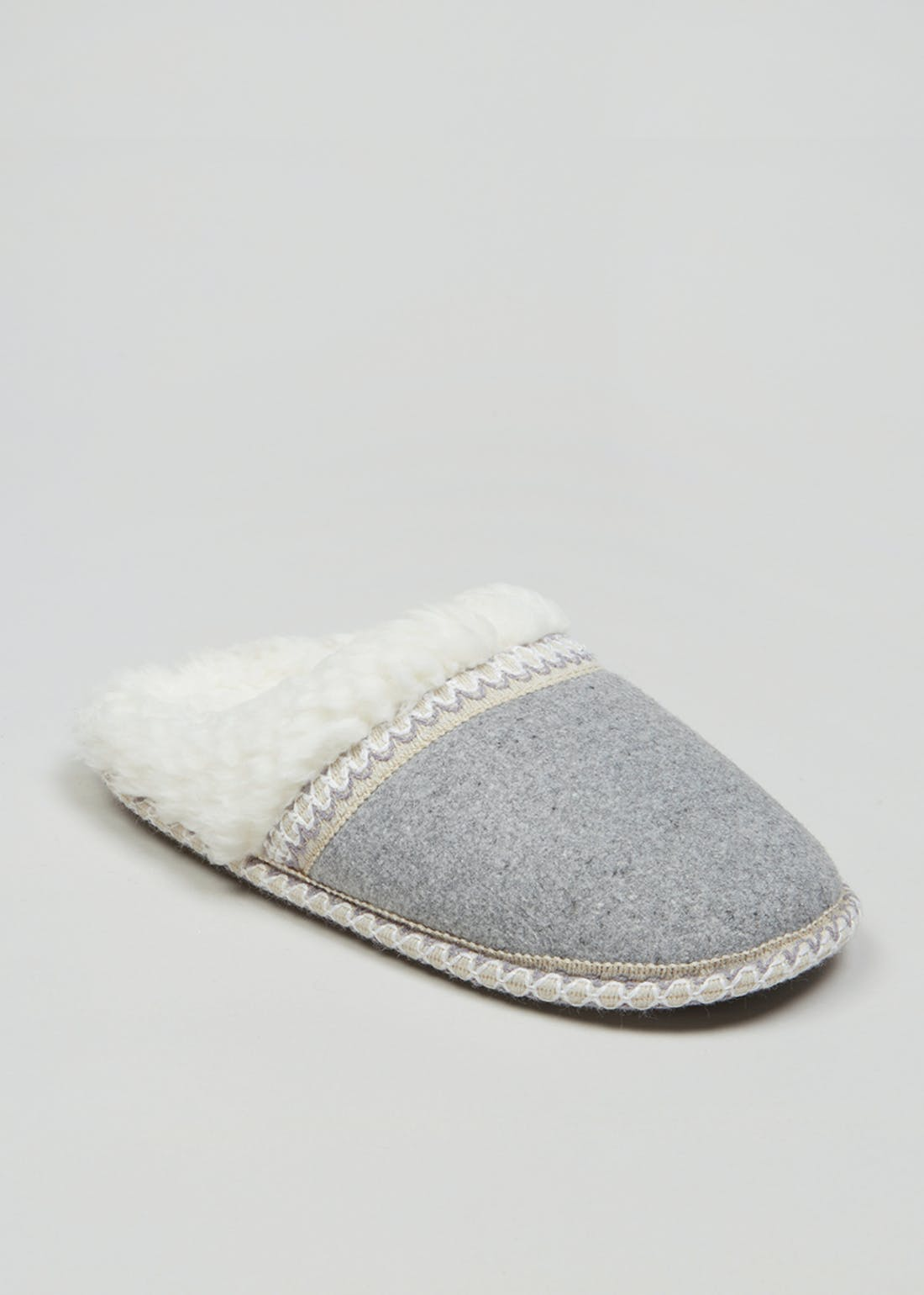 Grey Tape Lined Mule Slipper
