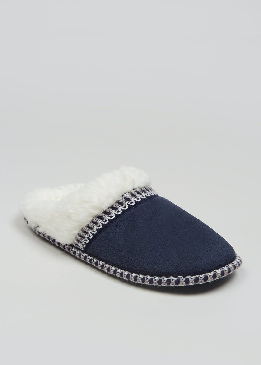 Navy Tape Lined Mule Slippers