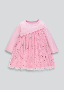 Girls Foil Star Mesh Dress (9mths-6yrs)