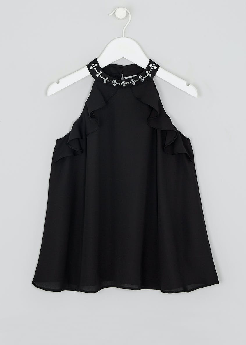 Girls Candy Couture Embellished High Neck Top (9-16yrs)