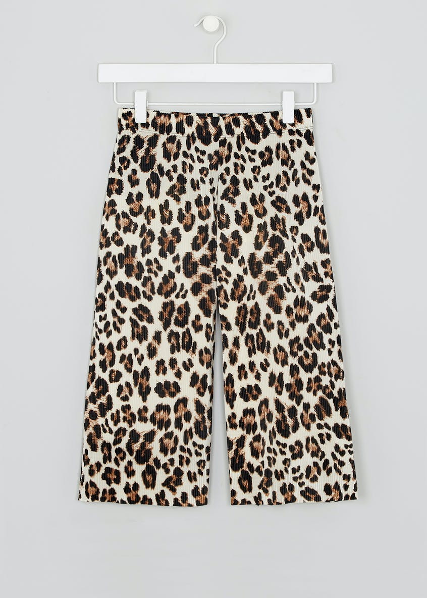 Girls Candy Couture Leopard Print Plisse Culottes (9-16yrs)