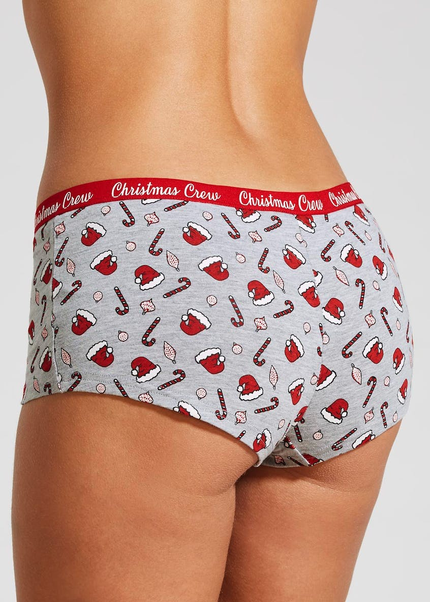 Santa Candy Cane Christmas Boxer Knickers