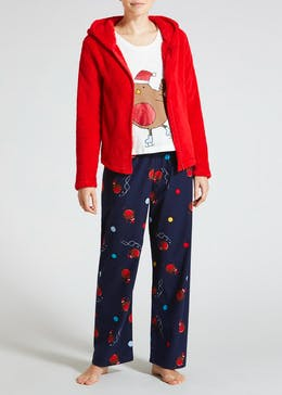 3 Piece Robin Christmas Pyjama Set