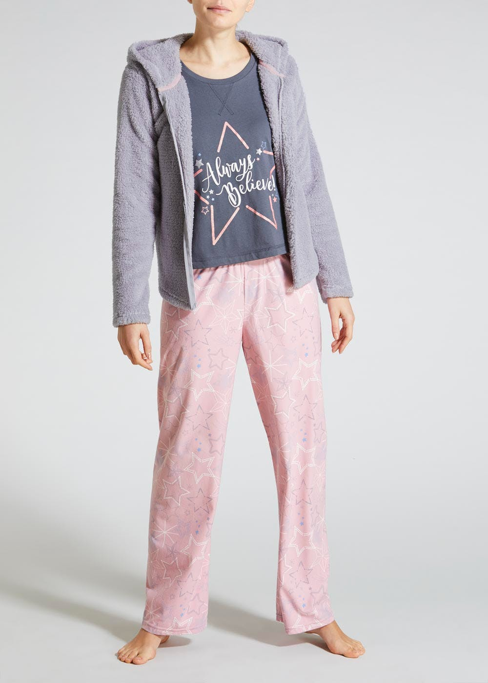 742cdf37c 3 Piece Star Christmas Pyjama Set – Grey – Matalan