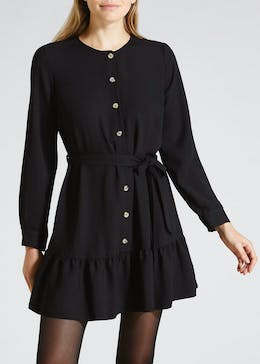Button Front Peplum Dress