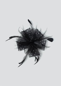 Polka Dot Feather Fascinator Clip