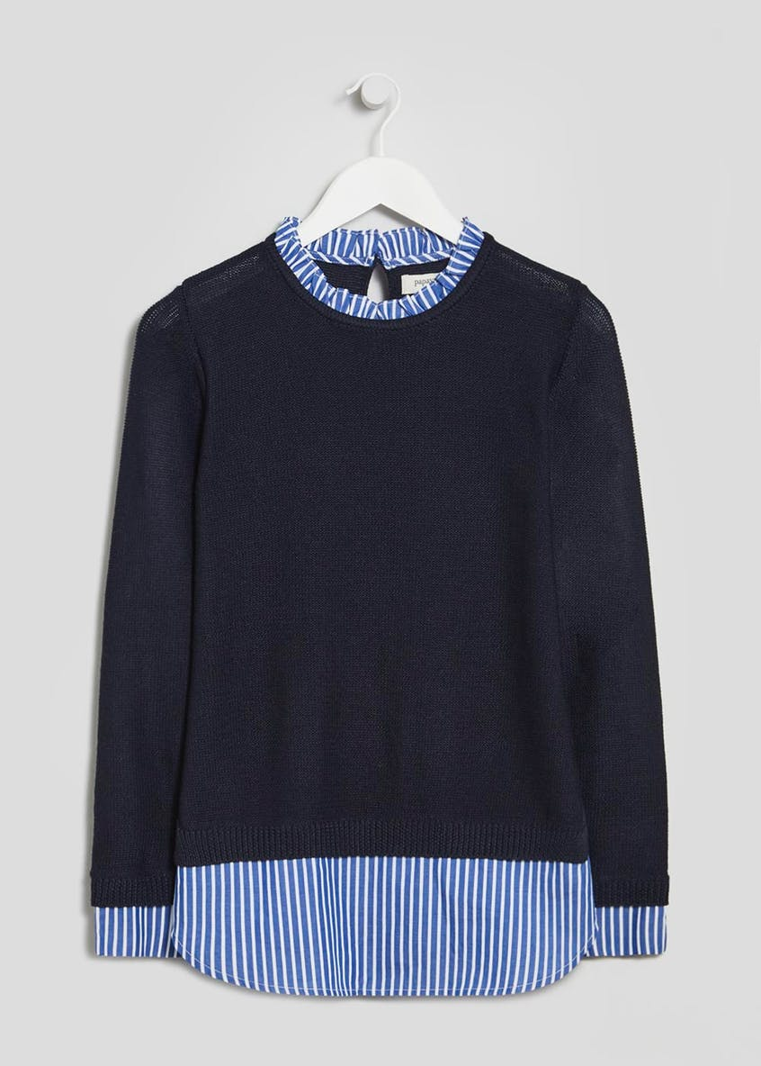 2 in 1 Stripe Shirt Jumper