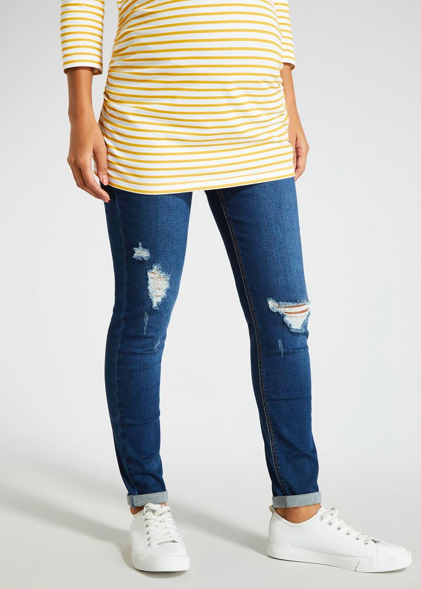 Maternity Over Bump Relaxed Skinny Ripped Jeans